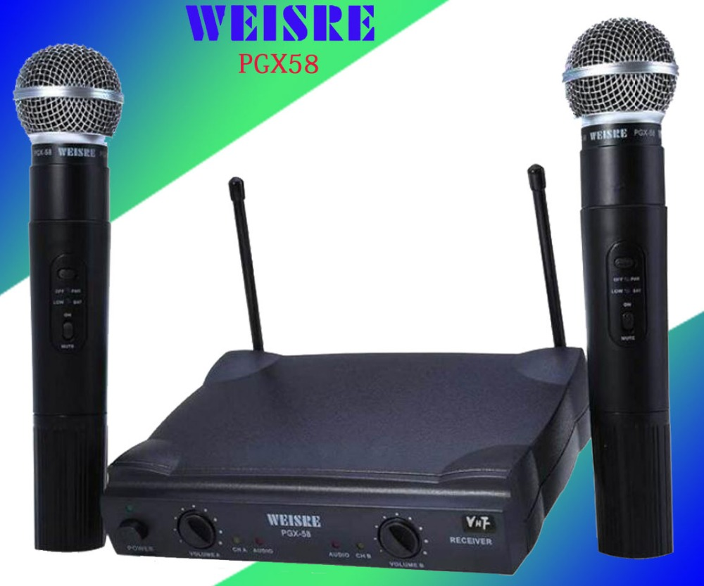 Genuine WEISRE PGX58 Omni-directional Wireless Microphone System Dual Handheld 2 x Mic Cordless Receiverfor Karaoke Party KTV professional karaoke wireless microphone system 2 channels led display receiver cordless handheld mike for mixer stage computer