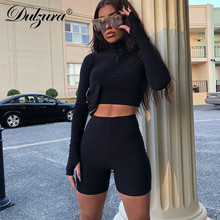 Sheinside Stand Collar Long Sleeve 2 Piece Set Women Crop Grid Top and Pencil Skirt