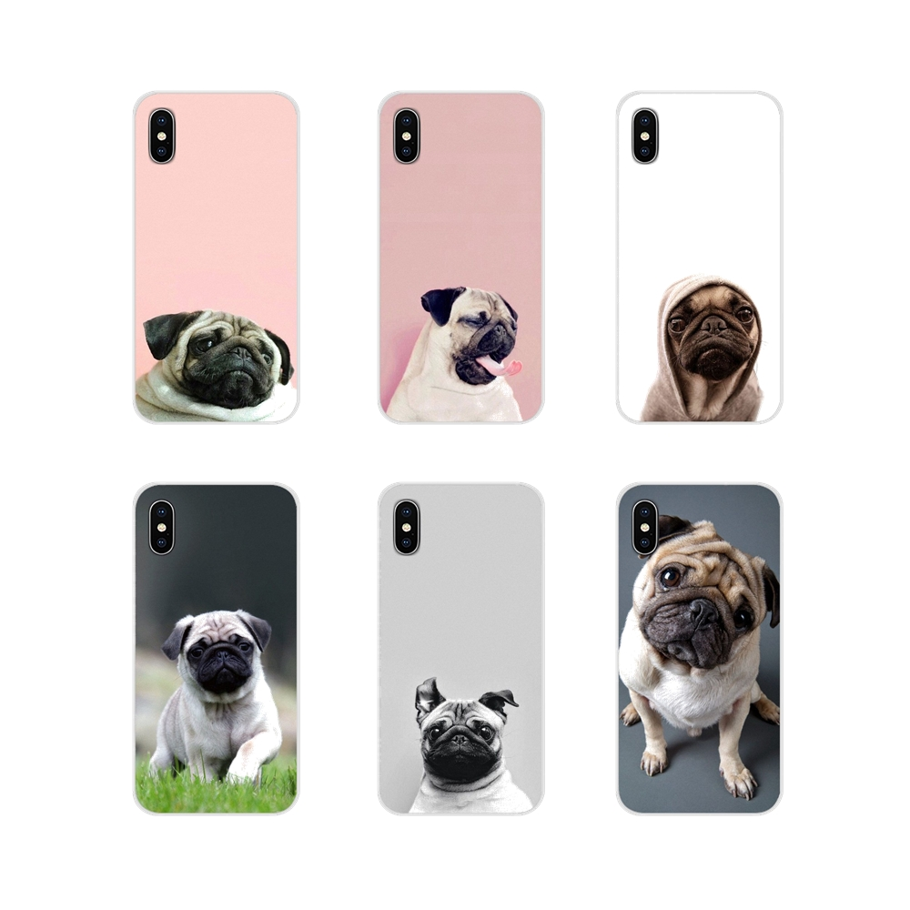 For Apple iPhone X XR XS MAX 4 4S 5 5S 5C SE 6 6S 7 8 Plus ipod touch 5 6 Transparent Soft Shell Case Cute Pug Dog HD Wallpapers image