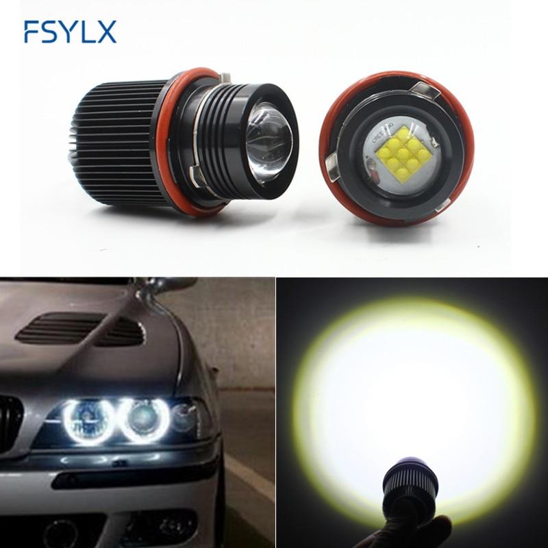 FSYLX LED Marker 2*45W 90W Angel Eyes CREEsLED Chips Canbus LED Angel Eyes for BMW E39 M5 X3 X5 E53 E87 E60 E61 E63 E64 E65