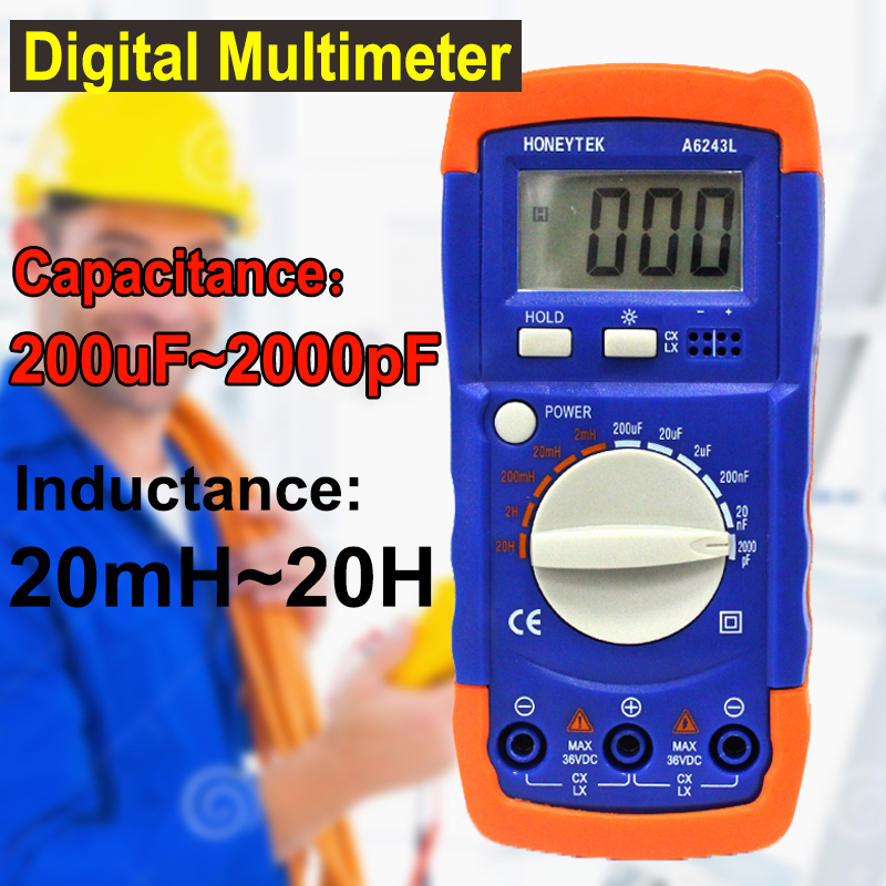 New Portable LCD Electronic Capacitance Inductance Tester multimeter LC Meter 2nF-200uF & 2mH-20H compatible digital multimeter high precision digital capacitance inductance meter auto ranging component tester 500kh lc rc oscillation inductance multimeter