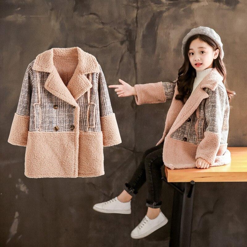 Children's girls winter thick coat fur coat plaid stitching coat girls winter coat drape plus size plaid coat