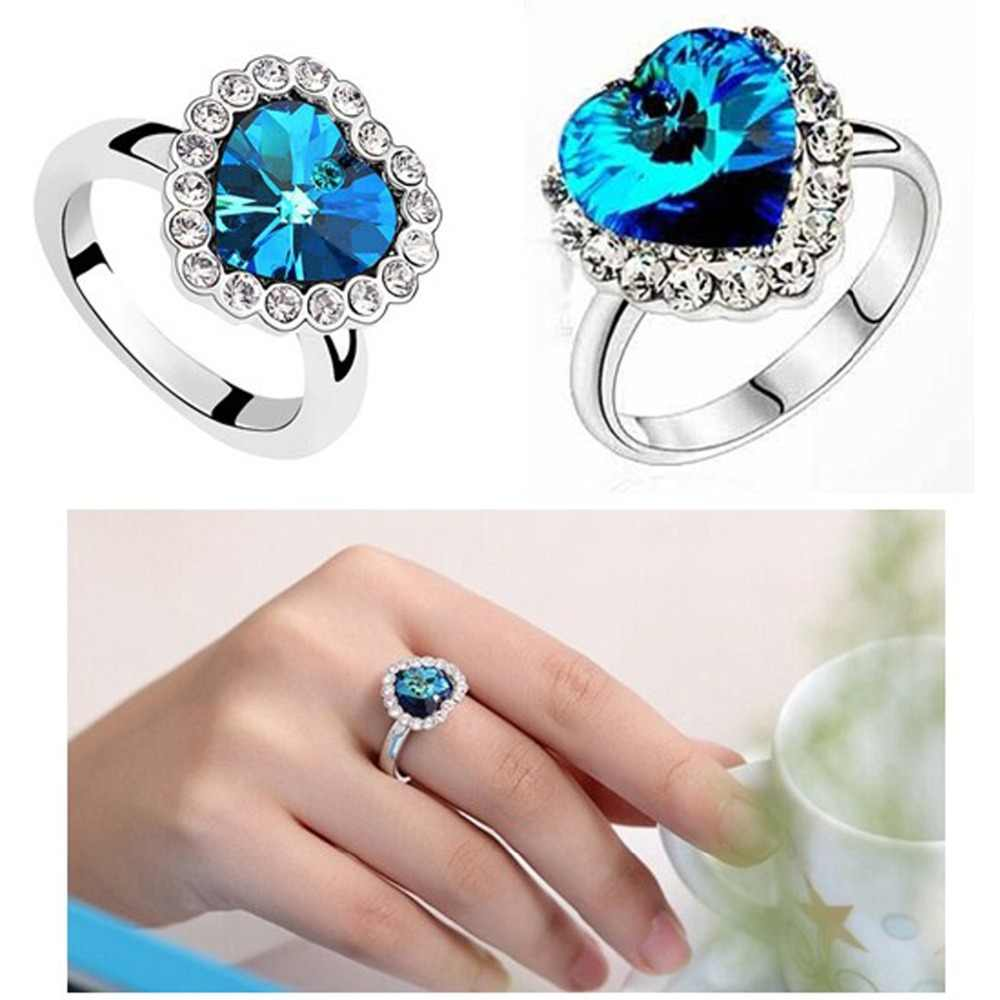 Hot LNRRABC New  Shape Heart Austria Crystal Rhinestones Engagement Rings for Women Wedding Party  Gift