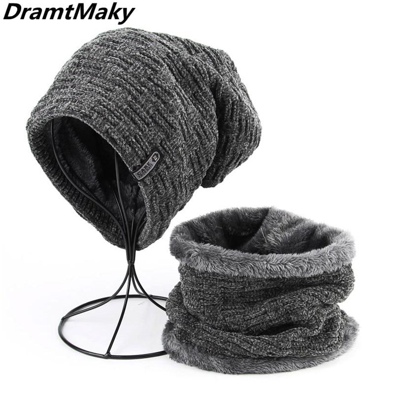 Men's Winter Knitted Hat Scarf Caps Neck Warmer Winter Hats For Men Women   Skullies     Beanies   Warm Fleece Cap Gorras Bonnet fashion