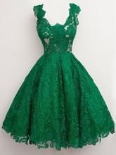 Tolles Design Emerald Green Spitze Cocktailkleider 2017 Knielangen U Hals Kurz Mädchen Party Kleider Kleid