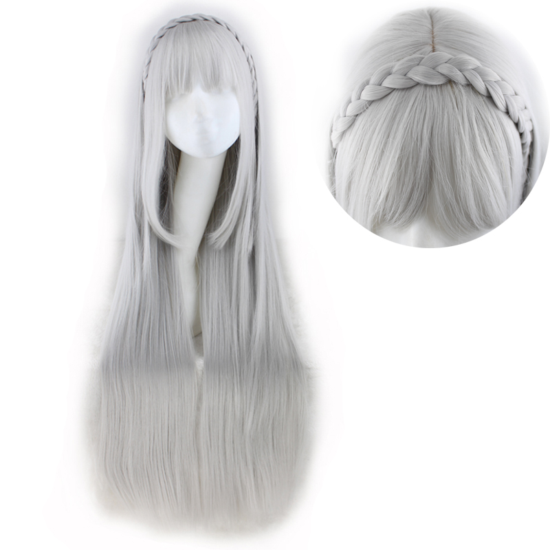 Image 4 - QQXCAIW Long Straight Cosplay Sliver Gray  100 Cm Synthetic Hair Wigs-in Synthetic None-Lace  Wigs from Hair Extensions & Wigs