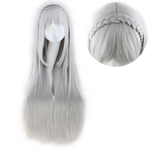 Image 4 - QQXCAIW Long Straight Cosplay Sliver Gray  100 Cm Synthetic Hair Wigs
