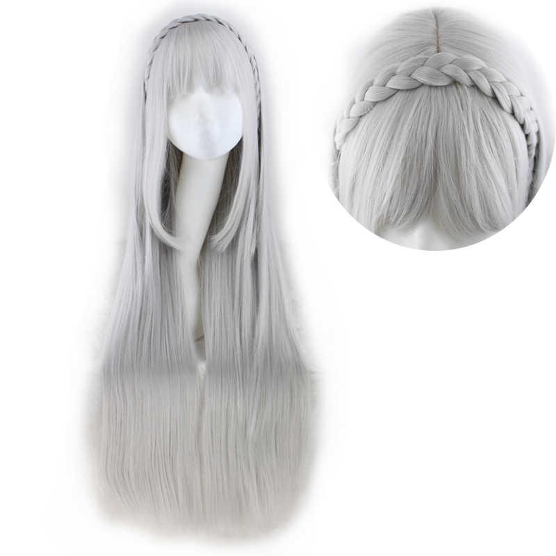 Qqxcaiwロングストレートコスプレスリヴァーグレー100センチ人工毛かつら