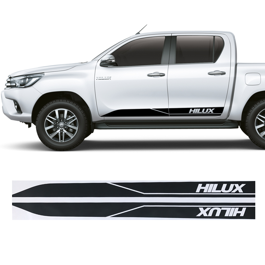 2pcs Hilux Racing Side Stripe Graphic Vinyl Sticker Fit For TOYOTA HILUX