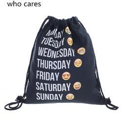 Кто заботится Новый 3D печать рюкзак женский, черный emoji неделю drawstring сумка Повседневное Mochila Feminina девушка