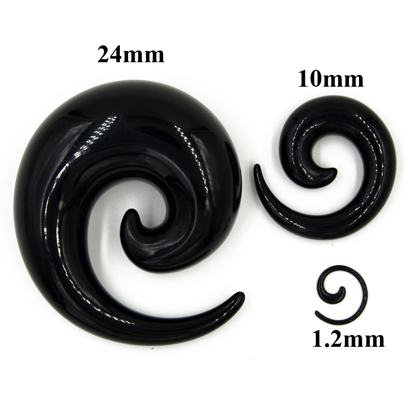 2PC Black White Acrylic Spiral Ear Tunnel Plugs Gauge Expanders Taper Stretcher Earlobe Earring Body Jewelery Piercing Earring