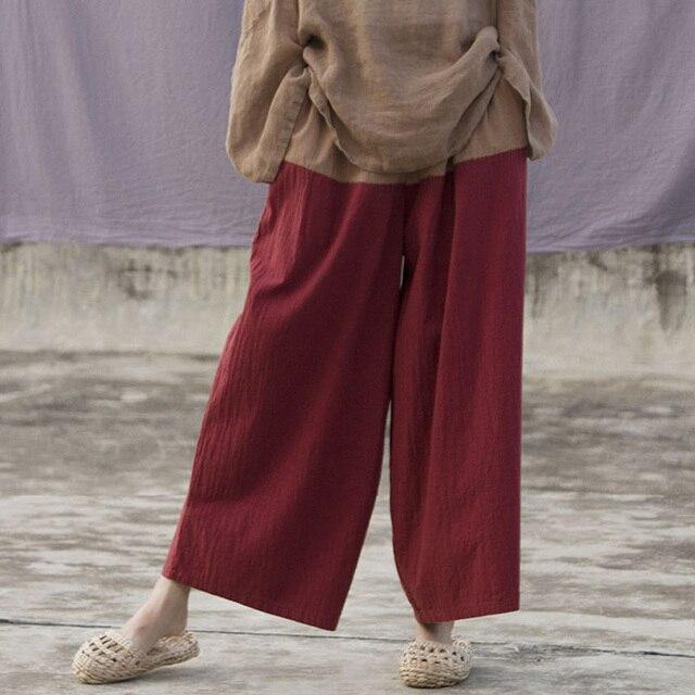 Johnature Patchwork Color Wide Leg Pants For Women Cotton Linen Trouser 2019 Spring New Vintage Elastic Waist Loose Pants