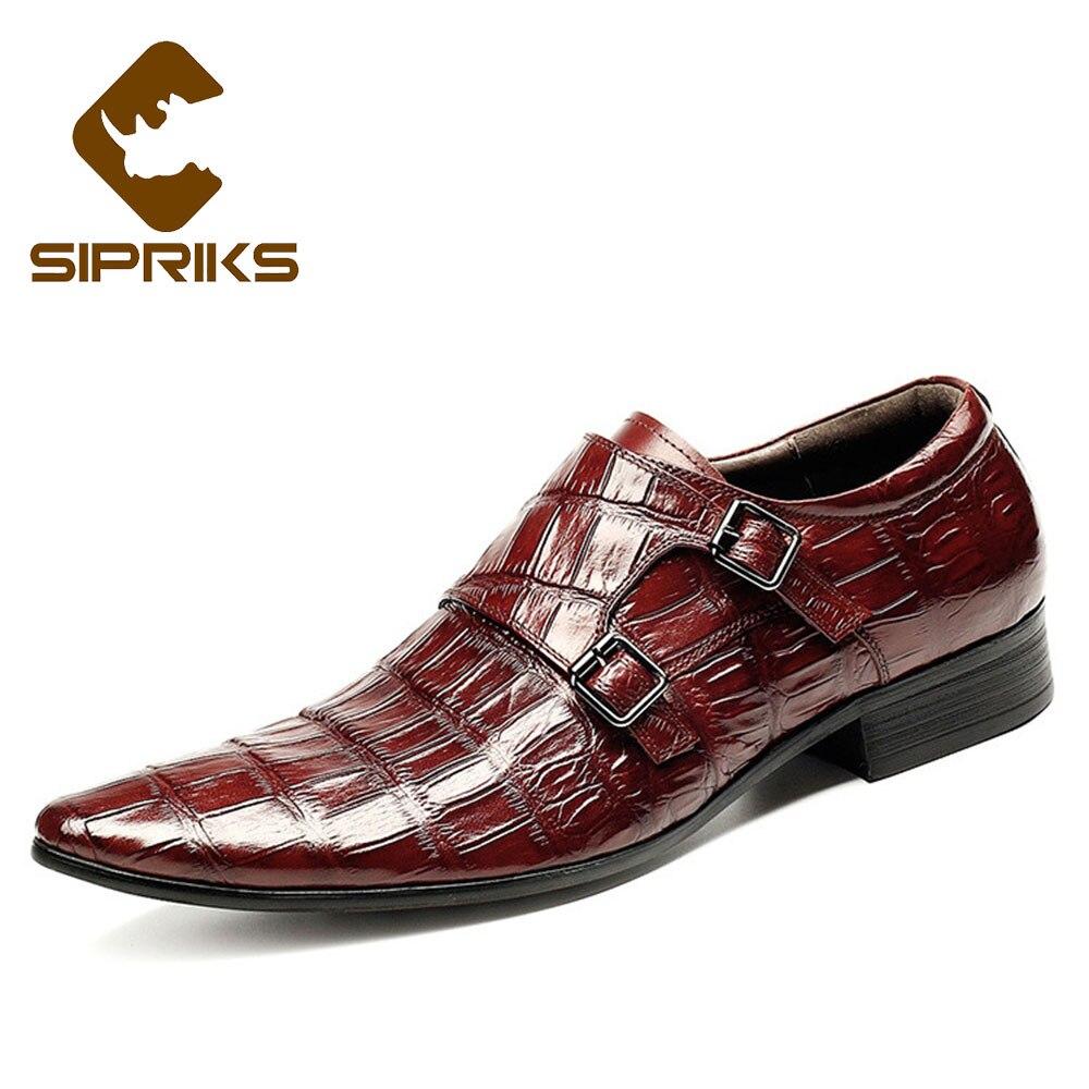 SIPRIKS mens classique crocodile peau chaussures noir double moine sangles bout pointu bourgogne robe chaussures avec boucle bretelles européenne
