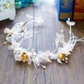Gorgeous white hairband handmade silk flower headband feather girl hairwear bride headpiece tiara wedding accessories crown zd01