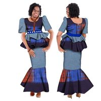 2019 Summer African Dashiki for women Puff sleeve Skirt Set natural Bazin riche african fashion clothing cotton Plus Size WY149