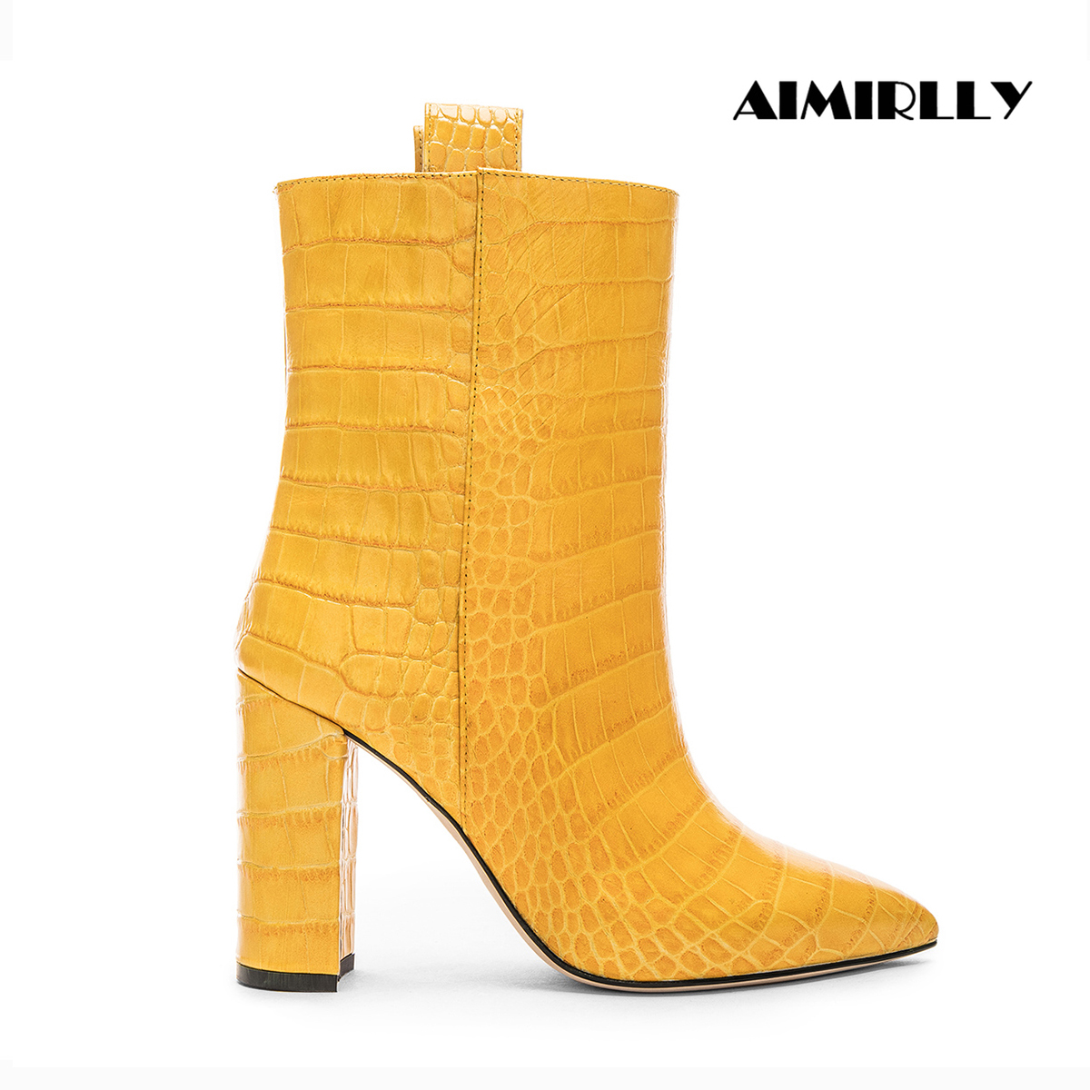 Aimirlly النساء الأحذية وأشار اصبع القدم عالية الكعب حذاء من الجلد التمساح نمط PU السيدات الشتاء حزب Clubwear أحذية بوت قصيرة الجوارب-في أحذية الكاحل من أحذية على  مجموعة 1