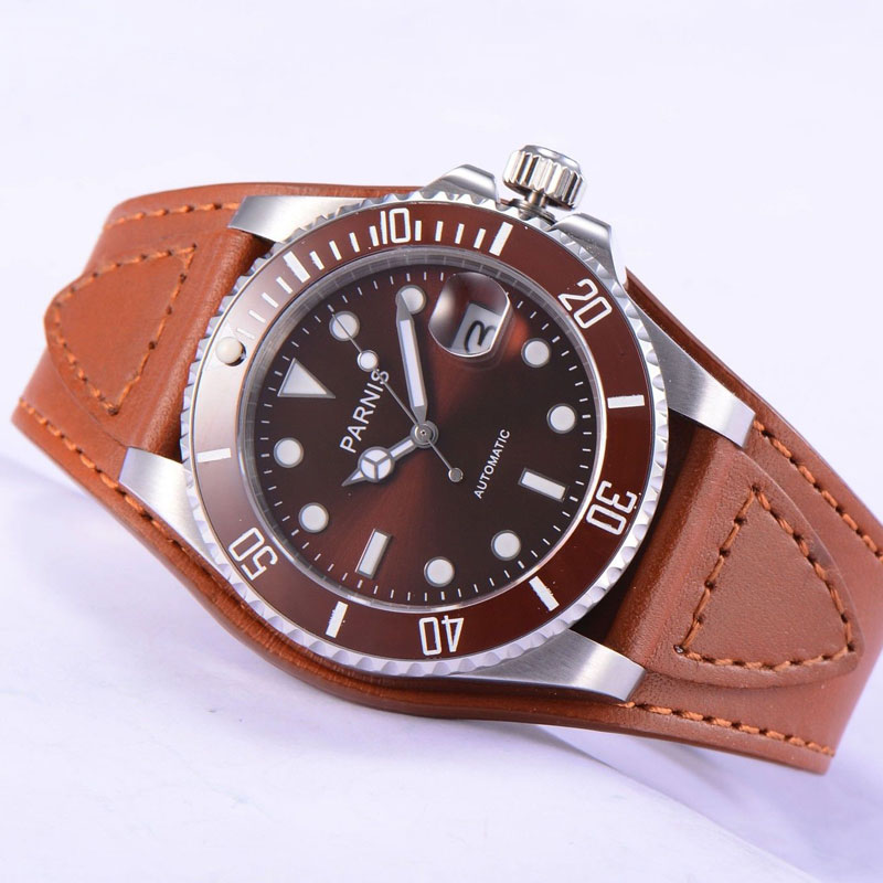 Casual 40mm PARNIS brown dial Steel sapphire glass Rotating ceramic bezel luminous marks Miyota Automatic movement mens WatchCasual 40mm PARNIS brown dial Steel sapphire glass Rotating ceramic bezel luminous marks Miyota Automatic movement mens Watch