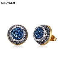 ShinyGem Crystal Earrings Fashion Jewelry Gold Plating Stud Earrings Pave Cubic Zircon Natural Druzy Crystal Earrings For Women