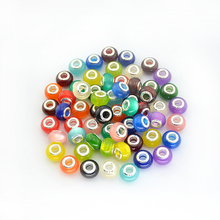 Free Shipping 14MM Mixed Colorful Glitter Powder Big Hole Beads Charms Fit Pandor Jewelry Bracelet Findings 100pcs/lot H502