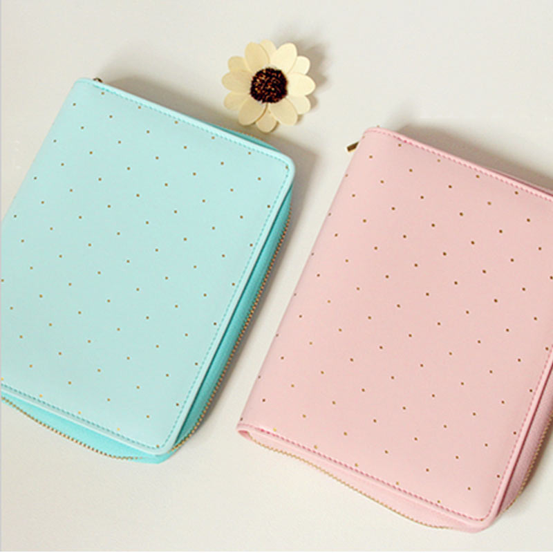 цена на A6 Macaron Zipper Loose Leaf Spiral Notebook Cute Sweet Candy Dot Travel Journal Personal Planner Agenda Organizer