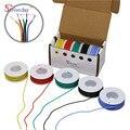 28AWG 50 m Flexible Silikon Kabel Draht 5 farbe Mischen box 1 box 2 paket Verzinnten Kupfer gestrandet draht Elektrische drähte DIY