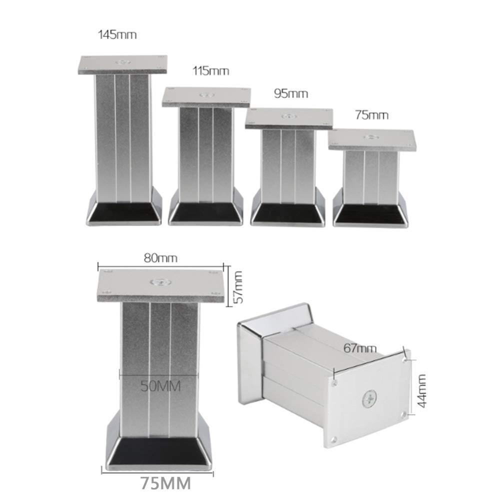 4Pcs 4Pcs Metal Furniture Legs, Square Tv Cabinet Sofa Bathroom Cabinet Support Feet, Replacement Furniture Accessories Silver