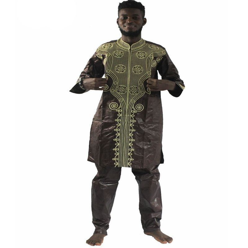MD men's top pant set 2 pieces outfit suit african men clothes bazin african clothing for men 2019 dashiki shirt with trouser