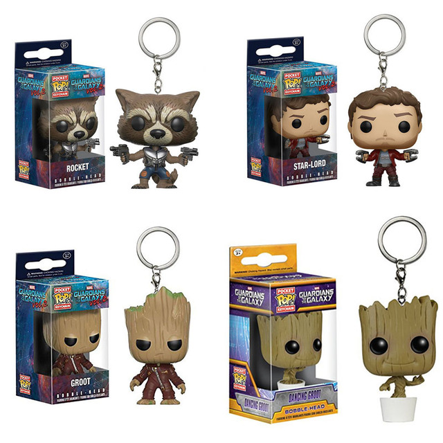 FUNKO POP keychain Marvel Avengers Spiderman Loki Grootted Wonder Woman Harry Potter action figure  4cm