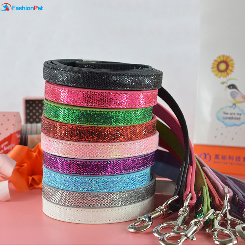 Vendita calda New Fashion Bright Leather 9 Colori Dog Pet Guinzaglio Lead Puppy Cat Leash per la camminata quotidiana