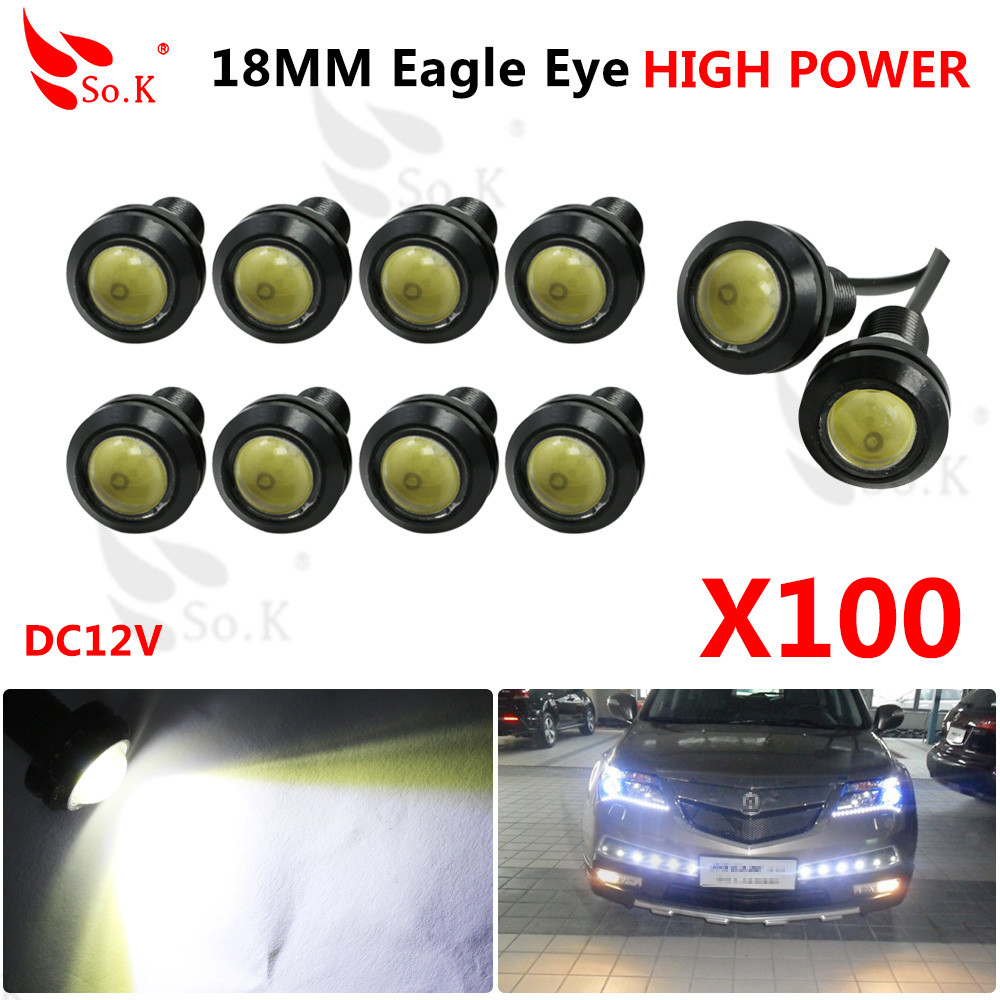 100 pcs/lot super bright 9W eagle eyes 18mm DRL eagle eye LED car lights Footwell light Fashion led and New 9w red high power led eagle eye under car body lamp drl fog light 9w motorcycle 6pcs lot free shipping