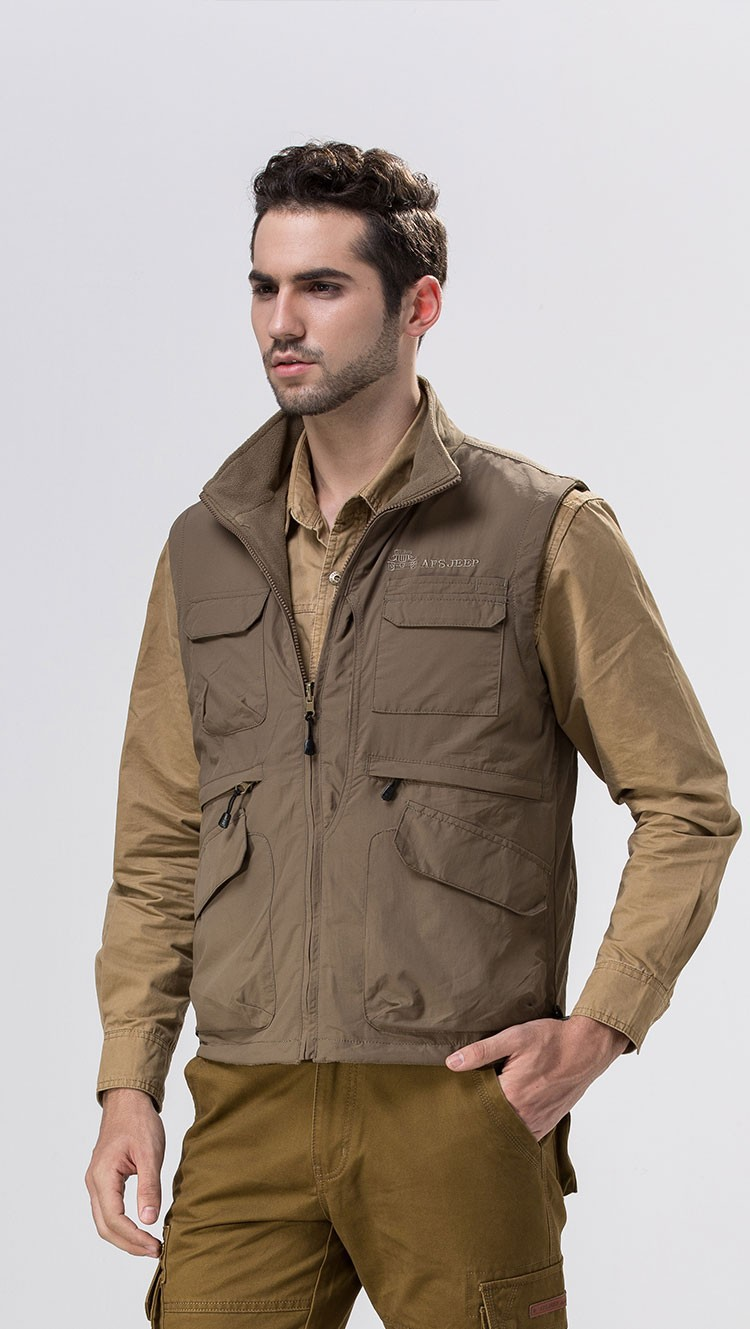 2015 Autumn Spring Casual Men Vest Coat Fleece AFS JEEP Cotton Multi Pocket 4XL Cargo Outdoor Sleeveless Jackets Waistcoat Vests (7)