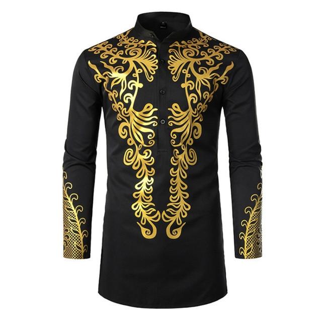 Muslim Blouse Fashion Bronzing Shirts Talit Novelty Gilding Shirts Islam Leisure Pullover Long Sleeve Moslim Kaftan Clothing Men