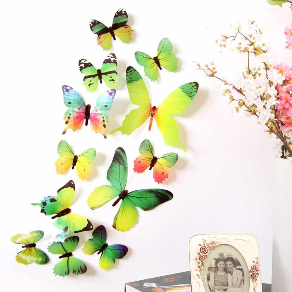 Envío Gratis 12 piezas de PVC 3d mariposa decoración de la pared lindas mariposas pegatinas de pared arte calcomanías decoración del hogar habitación arte de la pared