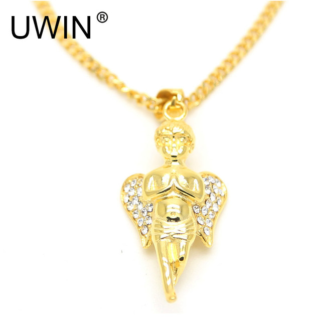 Hip hop 24k gold color stainless steel angel baby pendant iced out hip hop 24k gold color stainless steel angel baby pendant iced out bling rhinestone pendant necklace aloadofball Gallery