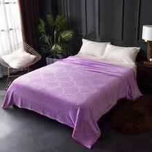 エンボス加工サンゴフリースフランネル毛布ベッド 300GSM 8 固体夏スロー冬ソファカバーベッドカバー暖かい毛布