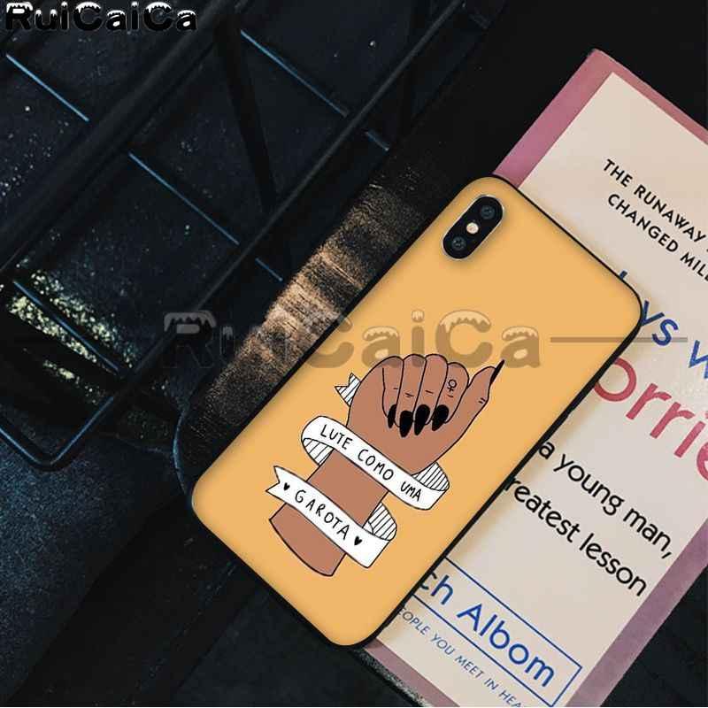 RuiCaiCa אסתטיקה מינימאלי ילדה כוח פמיניסטית שחור רך פגז טלפון כיסוי עבור iPhone X XS מקסימום 6 6S 7 7 בתוספת 8 8 בתוספת 5 5S XR