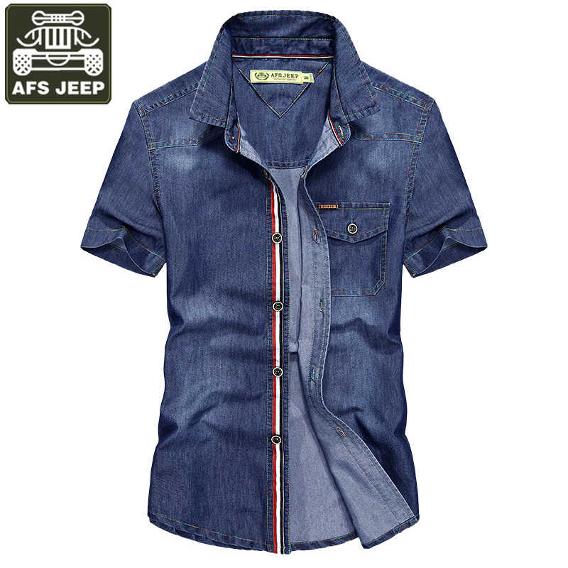 AFS JEEP Brand Denim Shirt Men Casual Shirts Military Shirt Solid Pure Cotton Big Size S-4XL Chemise Homme Camisa Masculina