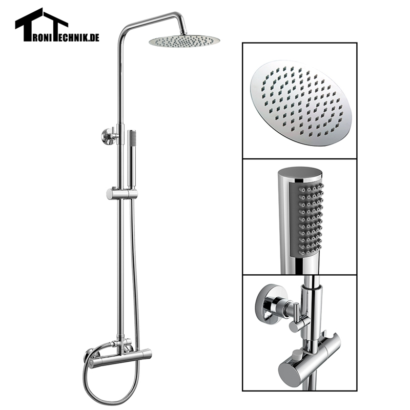 Thermostatic Water Shower Faucet Set Round Chrome Bath Tub Shower Mixers with Handshower 8