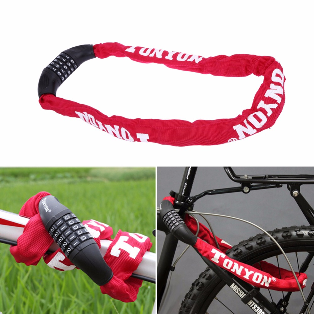 5 Digit Password Bicycle Lock Security Anti-Theft Combination Password Chain Lock for Bicycle Bike Motorcycle <font><b>Sliding</b></font> Glass Door