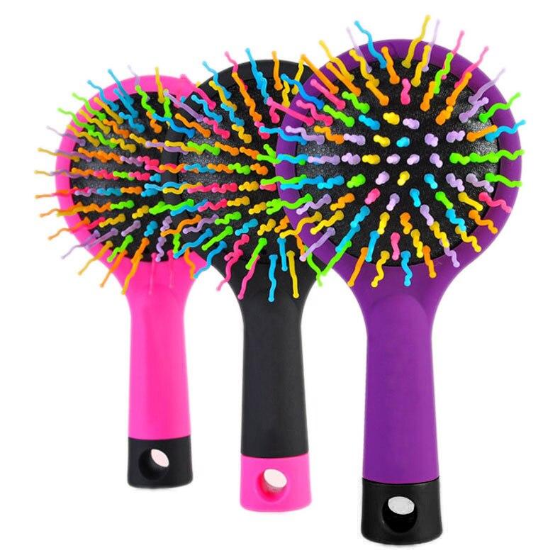 1 peça venda quente do arco-íris Volume Anti estática cabelo mágico onda reta massagem Comb escova Styling Tools com espelho HB88