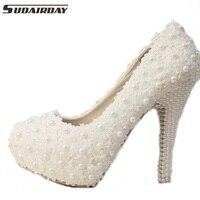 3cm/5cm/10cm/12cm/14cm Women Fashion Sweet White Flower Lace Platform High Heels Pearls Wedding Shoes Bride Dress Shoes