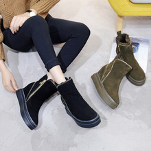 Woman Boots Platform Winter Warm Fur Snow Boot Wedge 2018 Genuine Leather Snowboot Zipper Ankle Boots Winter Shoes Woman Shoes