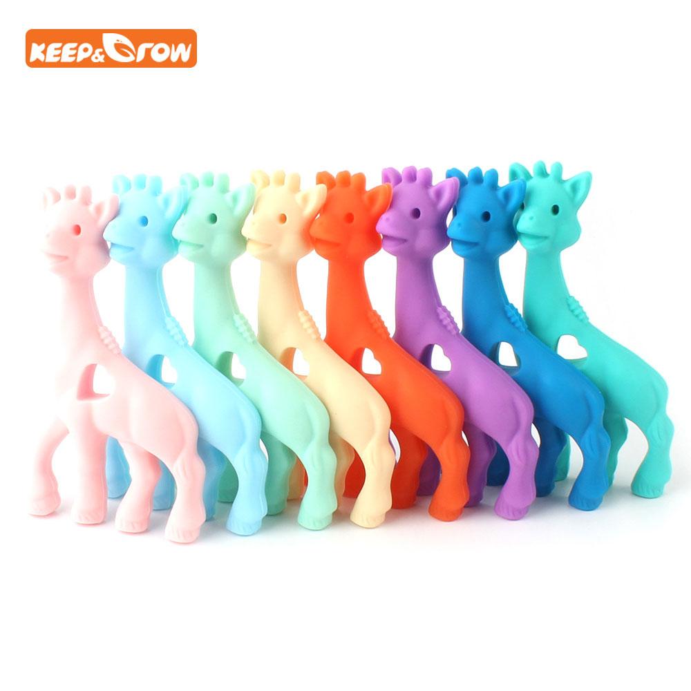 Keep&grow 3Pcs Giraffe Silicone Teether Food Grade Baby Teether Animal Baby Teething Gift Chaw Toddler Toy Mordedor Baby Product