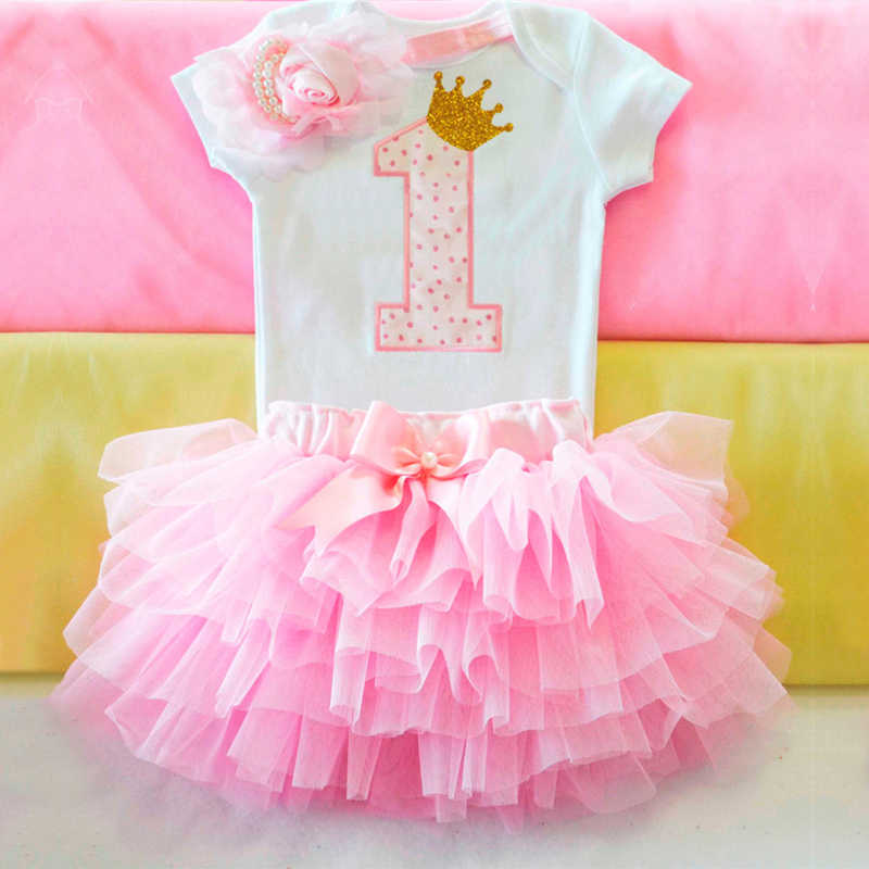 8c914b44b Sweet Pink My Little Girl First 1st Birthday Party Dress Tutu Cake Smash Outfits  Infant Dress