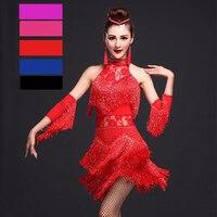Latin Dance Dress Women Competition 4pcs Dress Necklace Gloves Leggings Fantasia Masculina Para Adulto Robe Salsa