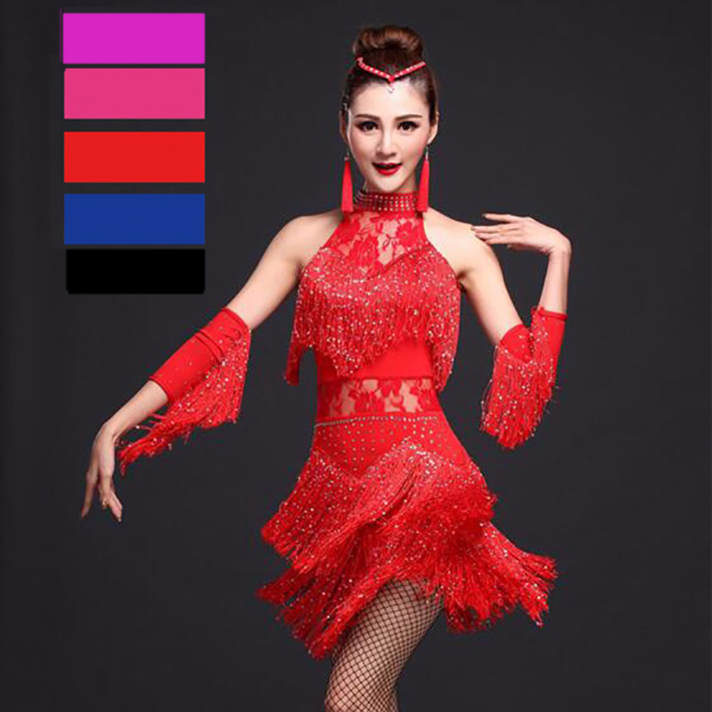 Robe De Danse latine Femmes Concurrence Robe 1 Pcs Gland Lait Soie Fantasia Masculina Par Adulto Robe Salsa Adulte Costumes DQ1045