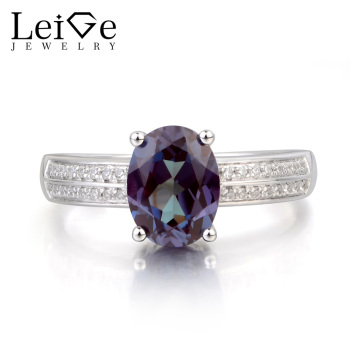 Leige Jewelry Alexandrite Ring Promise Ring June Birthstone Oval Cut Gemstone Color Changing Gems Solid 925 Sterling Silver Ring