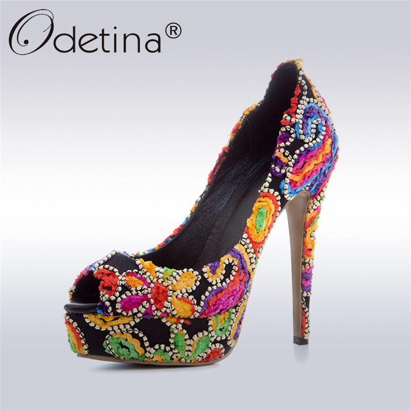 Odetina 2017 Fashion Womens Platform High Heels Peep Toe Stiletto Thin Heel Elegant Party Shoes Ladies Flower Pumps Plus Size 43 cicime women s heels thin heel spikes heels solid slip on wedding fashion leisure casual party dressing high heel platform pumps