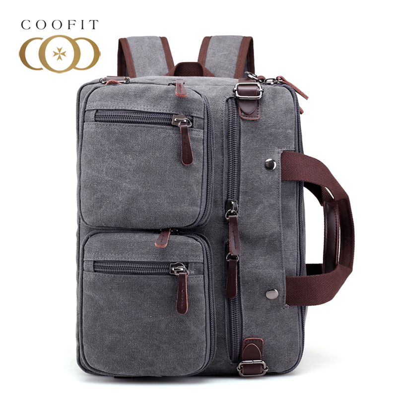 Coofit 3 in 1 Multifunction Unisex Backpack Bagpack Retro Canvas Laptop Backpacks For Women Men Travel Daypack Shoulder Bag ...