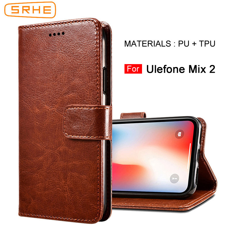 SRHE For Ulefone Mix 2 Case Cover Flip Luxury Leather Wallet Silicone Case For Ulefone Mix 2 Mix2 Cover With Magnet Holder